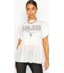 bonjour slogan mesh t-shirt, white