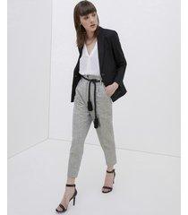motivi pantaloni a vita alta con cintura in corda donna grigio
