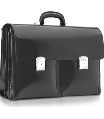 pineider designer briefcases, 1949 - black calfskin triple gusset briefcase