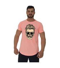 camiseta longline alto conceito caveira cabelo estiloso laranja flúor