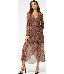 freebird flower-pes-01 maxi dress long sleeve ananda gold brown