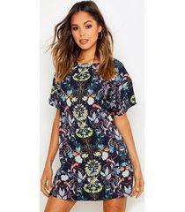 oriëntaalse loshangende bloemenprint jurk met kapmouwen, marineblauw