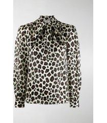 saint laurent leopard print pussybow blouse