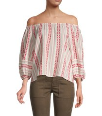 velvet women's striped off-the-shoulder top - sangaria mint - size l