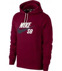 buzo rojo nike sb icon po essential hoodie aj9733-677