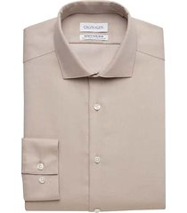calvin klein men's infinite non-iron taupe slim fit dress shirt - size: 15 32/33