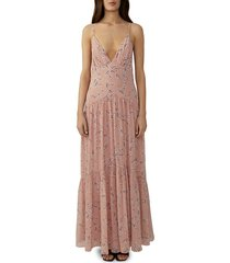 fame and partners women's floral-print chiffon maxi dress - cherry blossom - size 0