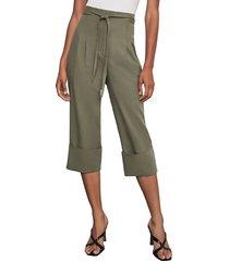 bcbgmaxazria women's tie-front cuffed cropped pants - dusty olive - size xxs