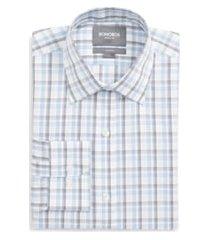 men's bonobos daily grind slim fit plaid dress shirt, size 16 - blue
