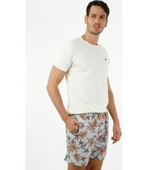 pantaloneta de baño de hombre, silueta confort, con estampado hawaii celestial