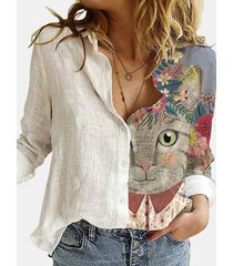 camicetta a maniche lunghe con bottoni e colletto con risvolto stampato gatto dei cartoni animati