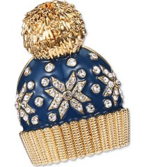 charter club gold-tone crystal snowflake hat pin, created for macy's