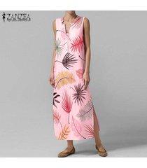 zanzea verano de las mujeres con cuello en v de bohemia de la playa vestido floral maxi vestidos sin mangas -rosado
