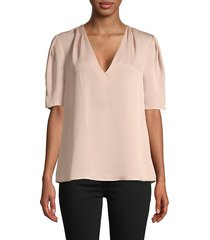 bcbgmaxazria women's short-sleeve v-neck pleated top - bare pink - size xs