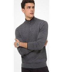 mk pullover con mezza zip in lana merino - cenere (grigio) - michael kors