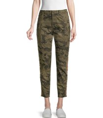 driftwood women's jackie high-rise embroidered camo ankle jeans - olive - size 28 (4-6)