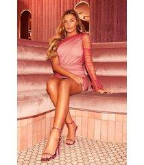 one shoulder mesh dress, pink