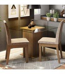 conjunto sala de jantar madesa lili mesa tampo de vidro com 2 cadeiras marrom - marrom - dafiti