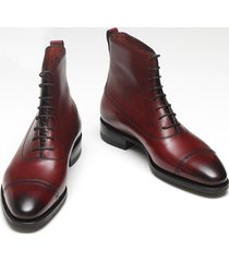 handmade men maroon cap toe lace up ankle boot, mens fashion formal leather boot