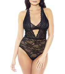 women's viola one piece teddy with built in bra and deep frontal plunge