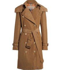 burberry detachable hood taffeta trench coat - brown