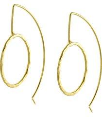 brinco argola gancho longo círculo 3rs semijoias dourado