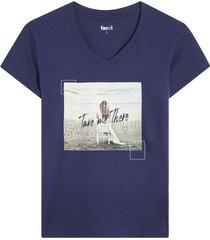 camiseta azul oscuro-multicolor facol
