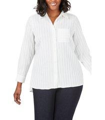 plus size women's foxcroft robyn chenille stripe blouse