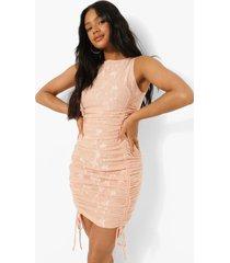 kanten geplooide mini jurk, pink