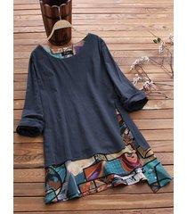blusa taglia plus stampa patchwork irregolare vintage