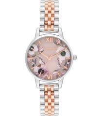 olivia burton women's semi-precious two-tone stainless steel bracelet watch 30mm