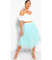 bardot lace top and tulle midi skirt co-ord set, mint