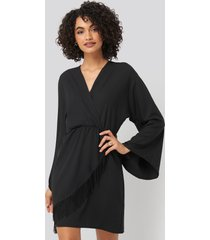 trendyol mini tasseled dress - black