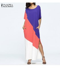 2017 zanzea mujeres de gran tamaño de manga corta cuello redondo kaftan vestido de verano de mujeres remiendo de empalme del partido del club del vestido largo maxi (color1) -negro