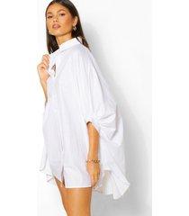 oversized blouse jurk met vleermuismouwen, wit