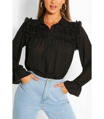 blouse met ruches, zwart