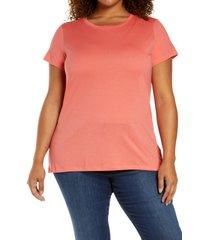 plus size women's halogen jersey crewneck shirt, size 1x - coral