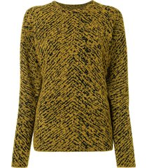 3.1 phillip lim jacquard herringbone dropped shoulder jumper - yellow