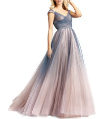 mac duggal women's ombre tulle gown - charcoal ombre - size 12