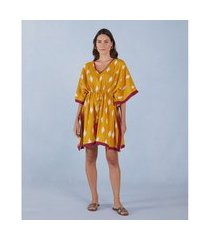 kaftan curto - kaftan carol cor: amarelo e off white estampado - tamanho: u