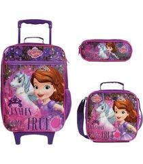 kit mochila com rodinhas princesinha sofia com lancheira e estojo