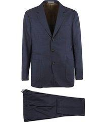 brunello cucinelli triple patch single-breasted suit