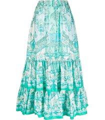 etro high-waisted scarf print skirt