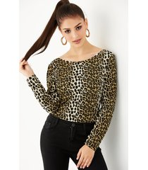 yoins basics camiseta de manga larga con estampado de leopardo beige sin espalda diseño