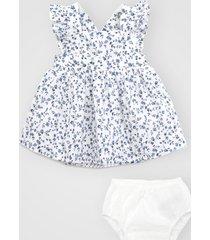 vestido gap infantil floral com tapa fralda branco/azul - tricae