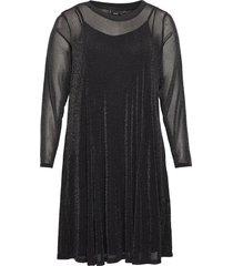 dress sparkly plus round neck long sleeves kort klänning svart zizzi