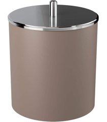 lixeira coza com tampa inox warm gray marrom - marrom - dafiti