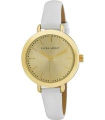 laura ashley ladies' signature case analog display white watch