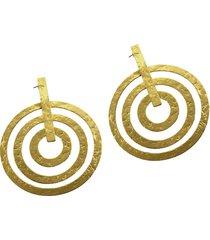aretes de mujer oro 3 cerchi concentrici battuti brass colection by vestopazzo
