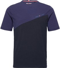 blocked tee t-shirts short-sleeved blå tommy sport